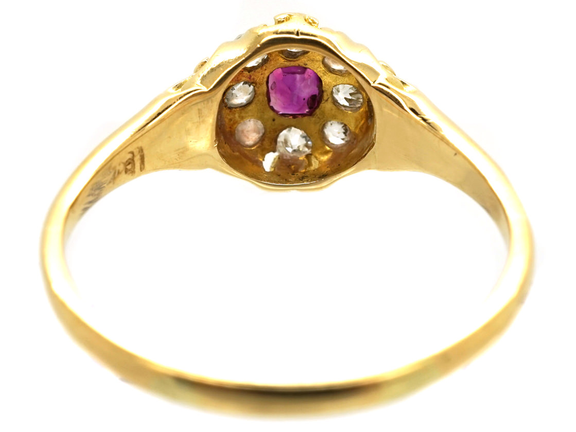 Victorian 18ct Gold, Ruby & Diamond Cluster Ring