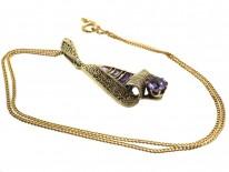 Theodor Fahrner Art Deco Silver & Amethyst Pendant on Chain