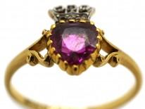 Edwardian 18ct Gold Ruby & Diamond Heart Ring