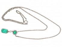 Art Deco Emerald & Diamond Pendant on Chain