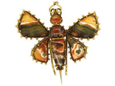 Georgian Gold & Agate Butterfly Brooch