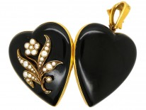 Large 18ct Gold Victorian Heart Shaped With Black Enamel & Natural Split Pearls