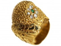 18ct Gold Owl Ring Set With Emeralds & Diamonds