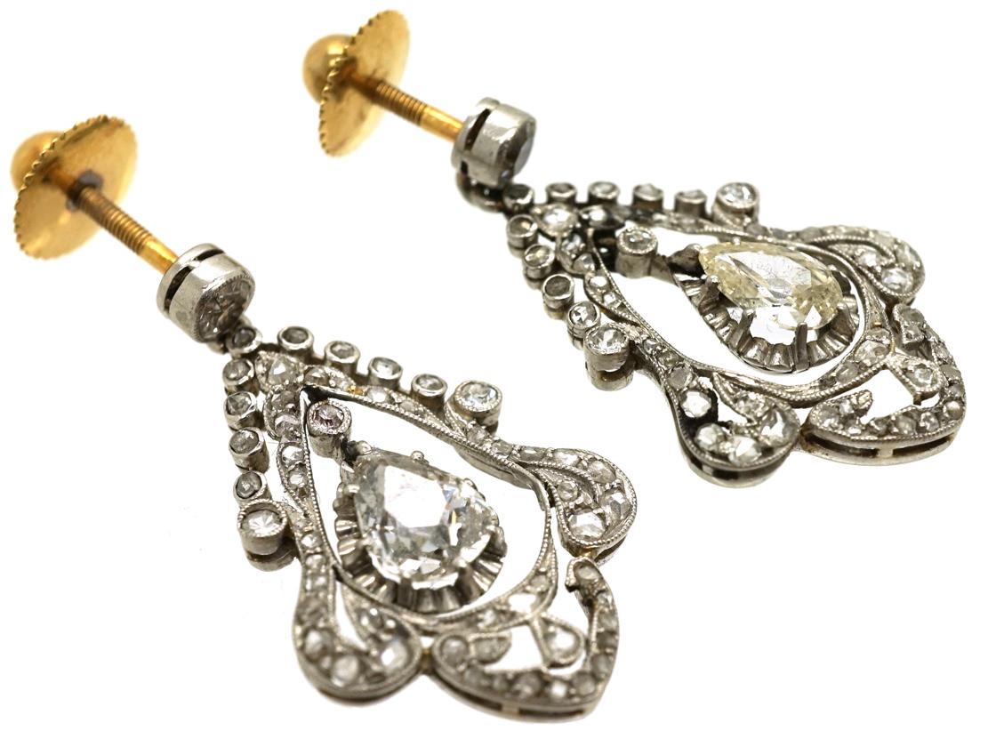 Edwardian Pear Shaped Diamond Drop Earrings