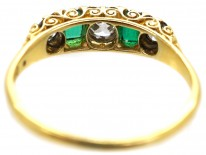 Victorian 18ct Gold, Emerald & Diamond Carved Half Hoop Five Stone Ring