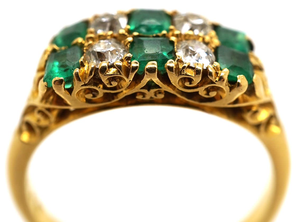 Victorian 18ct Gold, Emerald & Diamond Two Row Carved Half Hoop Ring