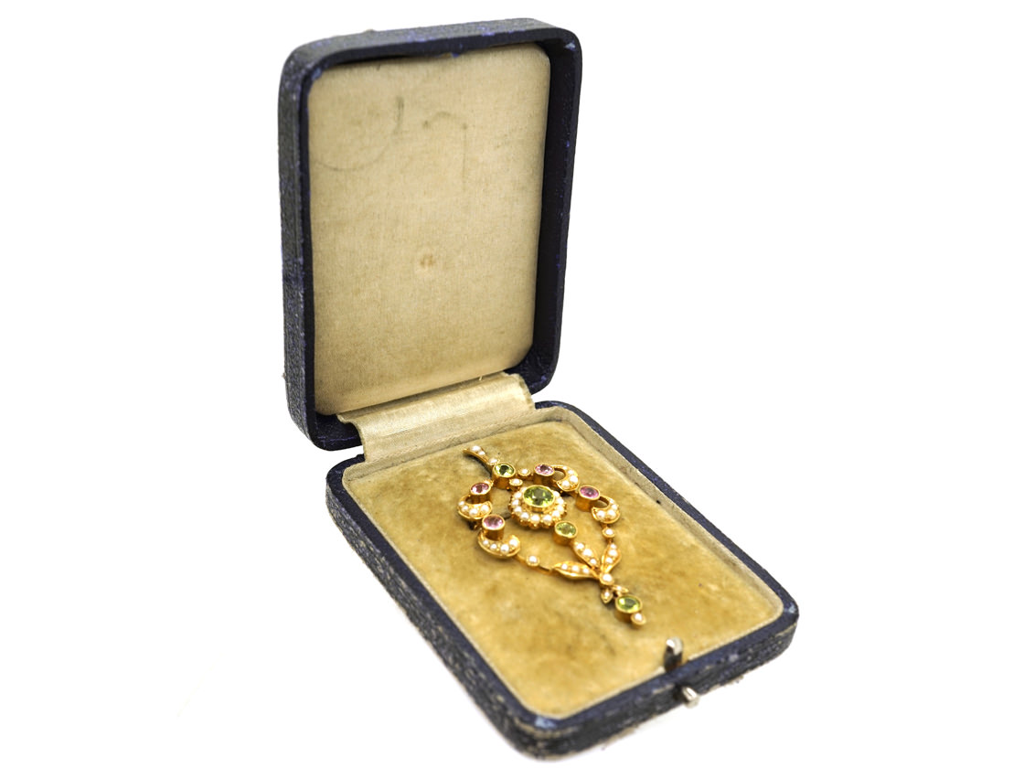 Edwardian 15ct Gold Suffragette Pendant in Original Case