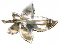 Silver & Marcasite Leaf Brooch and Pendant