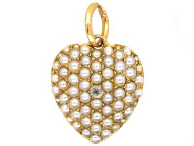 15ct Gold, Diamond & Natural Split Pearl Pave Set Heart Pendant