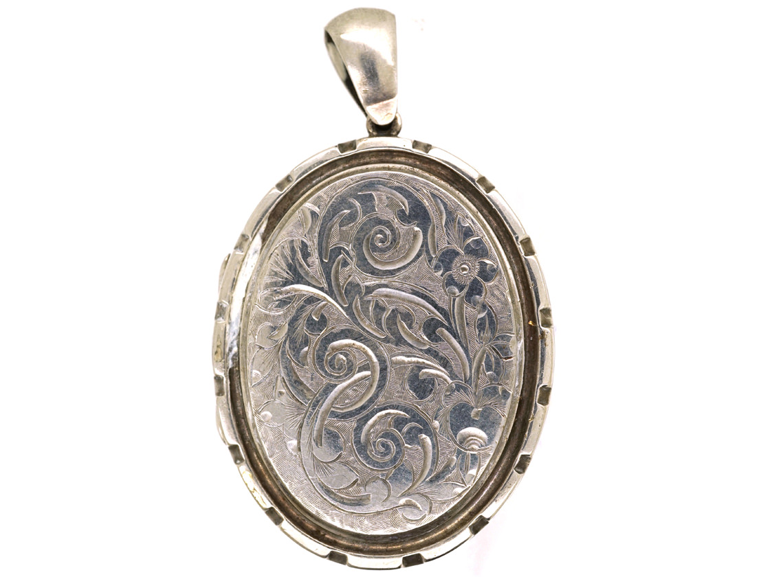Victorian Silver Basket of Flowers Design Oval Locket