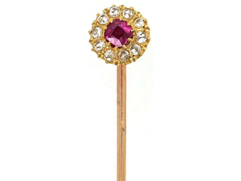 Edwardian 18ct Gold Ruby & Diamond Cluster Stick Pin