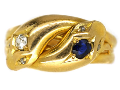 Edwardian 18ct Gold, Sapphire & Diamond Snake Ring