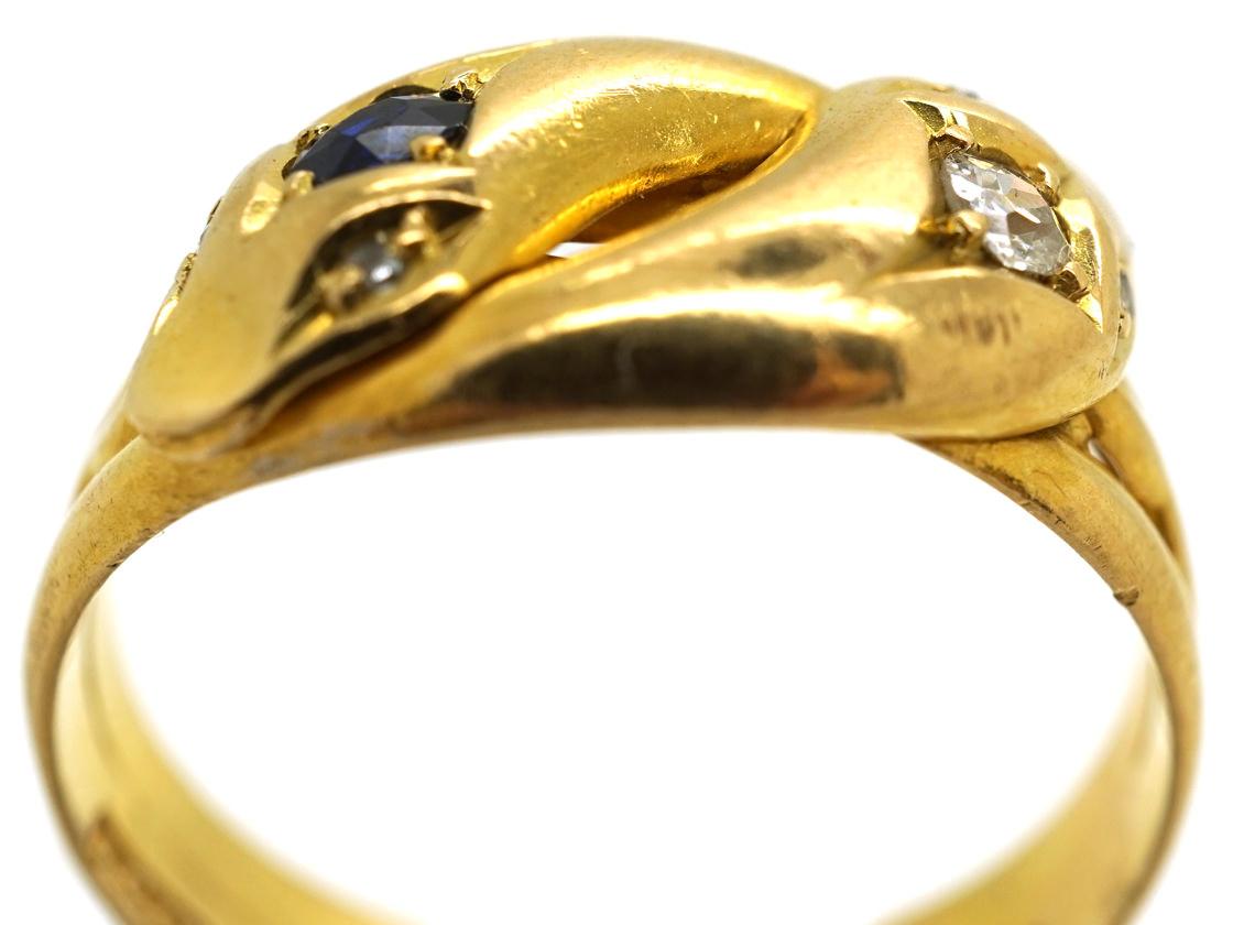 Edwardian 18ct Gold, Sapphire & Diamond Snake Ring