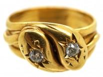 Edwardian 18ct Gold Double Snake Ring Set With Diamonds