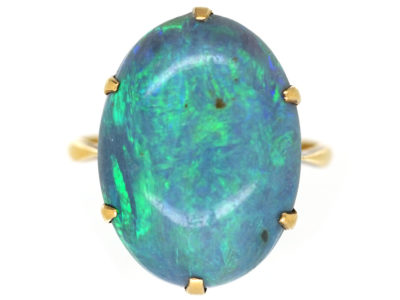 Art Deco 18ct Gold & Black Opal Ring