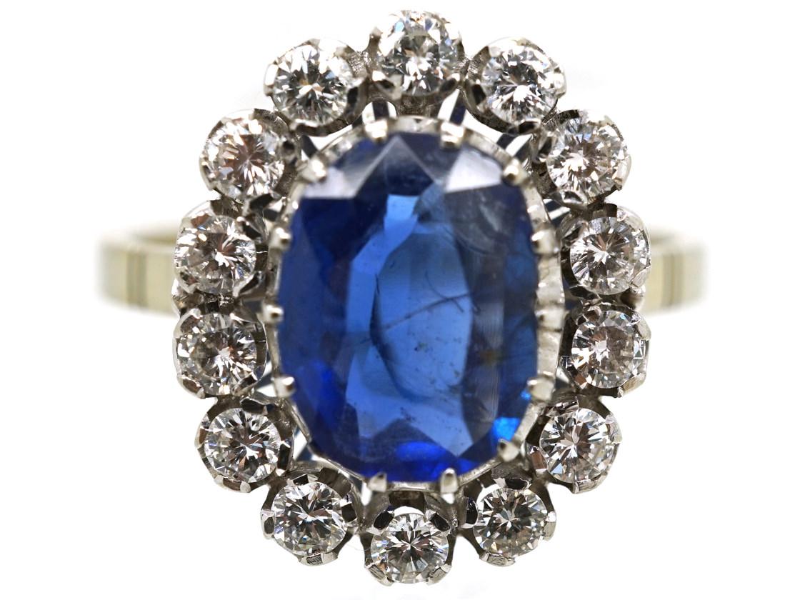 18ct White Gold, Burma Sapphire & Diamond Oval Cluster Ring