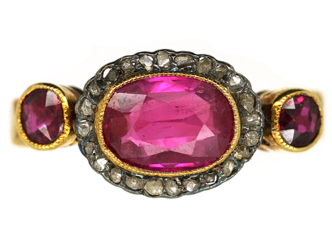 Edwardian 18ct Gold, Ruby & Rose Diamond Cluster Ring With Ruby Shoulders