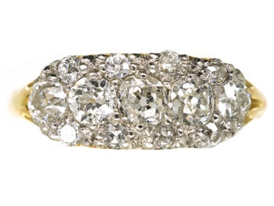 Edwardian 18ct Gold & Platinum Five Stone Diamond Cluster Ring
