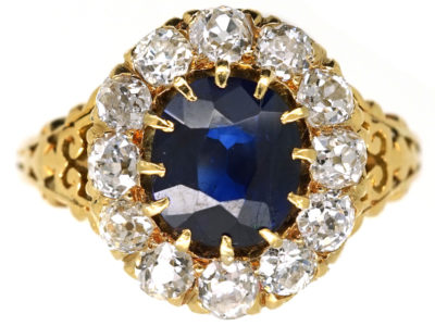 Victorian 18ct Gold, Sapphire & Diamond Oval Cluster Ring