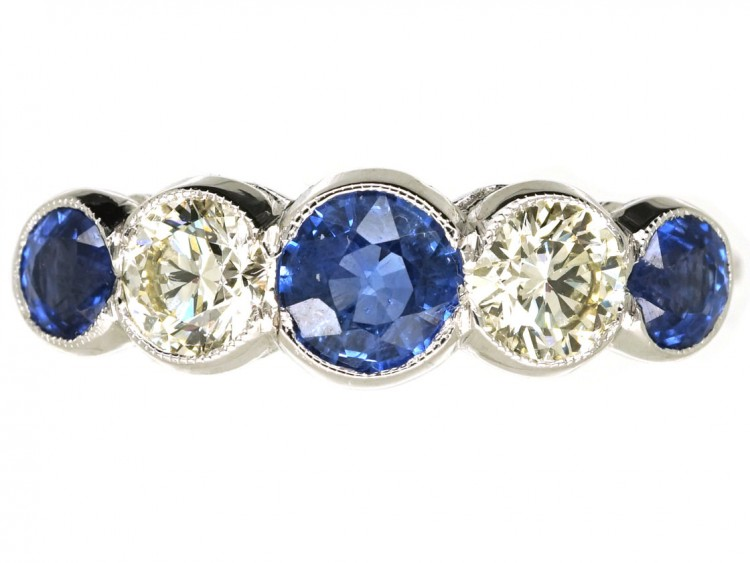 Art Deco 18ct White Gold, Ceylon Sapphire & Diamond Five Stone Ring