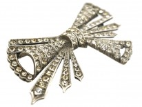 Art Deco Silver & Paste Bow Brooch