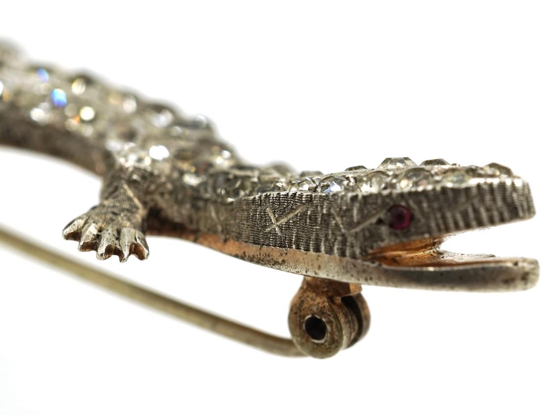 Art Deco Silver & Paste Lizard Brooch