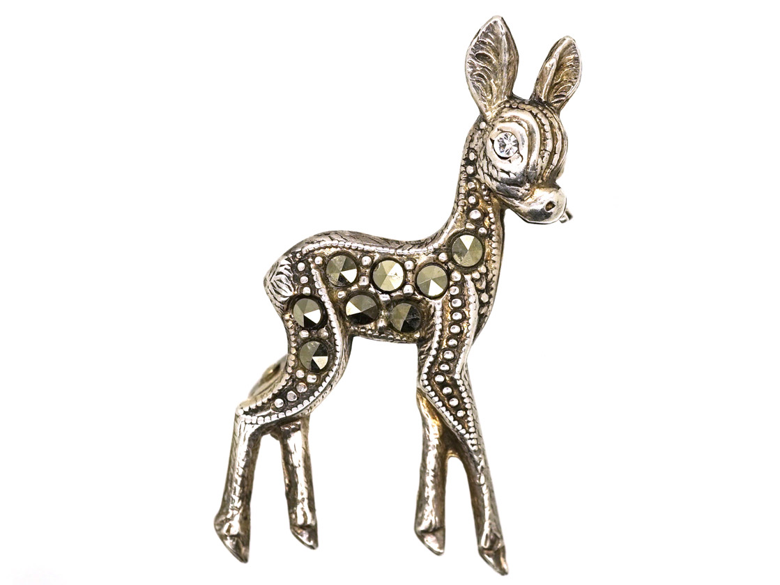 Tiny Silver & Marcasite Bambi Brooch
