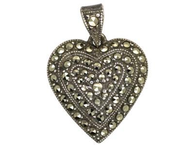 Silver & Marcasite Heart Pendant