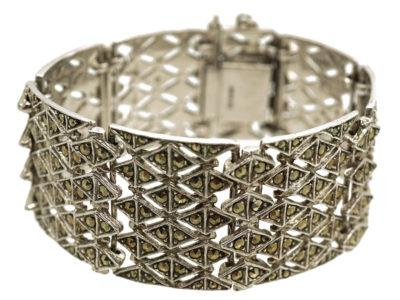 Silver & Marcasite Articulated Wide Bracelet