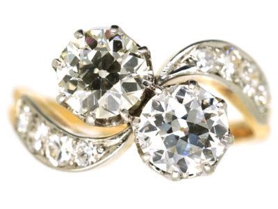Edwardian 18ct Gold & Platinum, Two Stone Diamond Crossover Ring