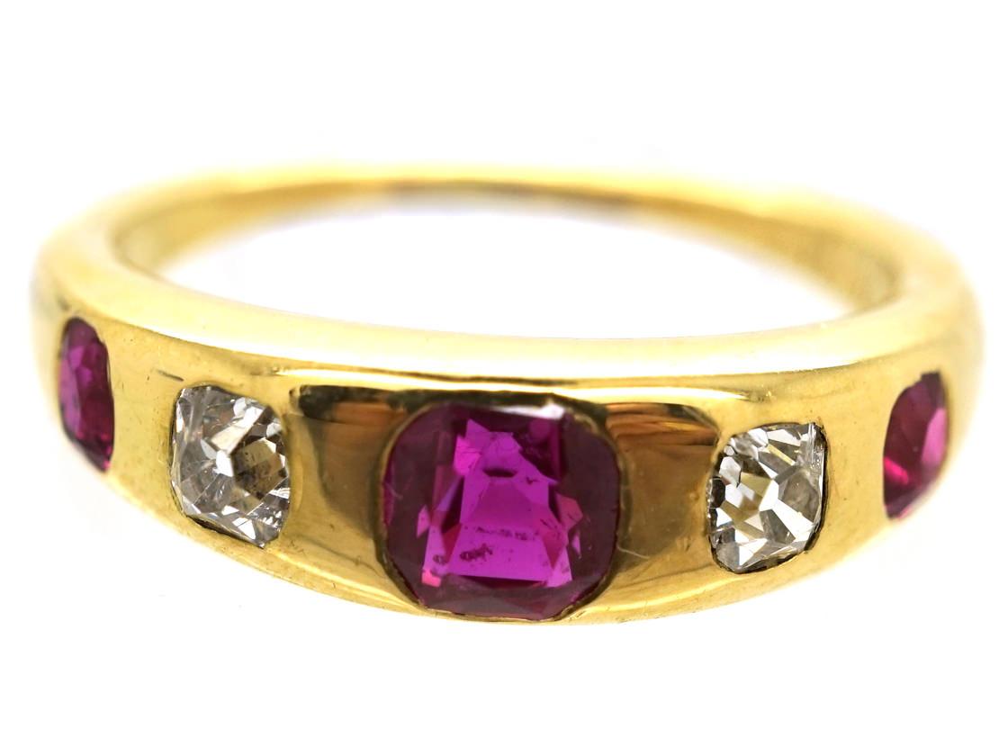 Victorian 18ct Gold Ruby & Diamond Rub Over Ring