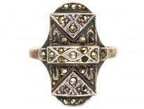 Art Deco Silver & Marcasite Rectangular Ring