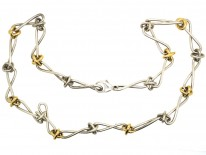 Tiffany Silver & Gold Knot Necklace By Paloma Picasso