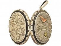 Victorian Silver & Gold Overlay Locket With A Bird & Butterfly