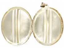 Silver Engraved & Striped Oval Locket