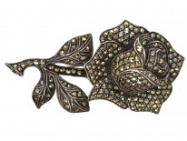 Silver & Marcasite Rose Brooch