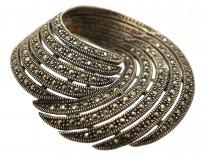 Silver & Marcasite Swirly Brooch