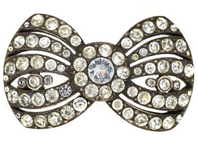 Victorian Silver & Paste Bow Brooch