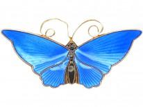 Silver Gilt & Blue Enamel Butterfly Brooch By David Andersen