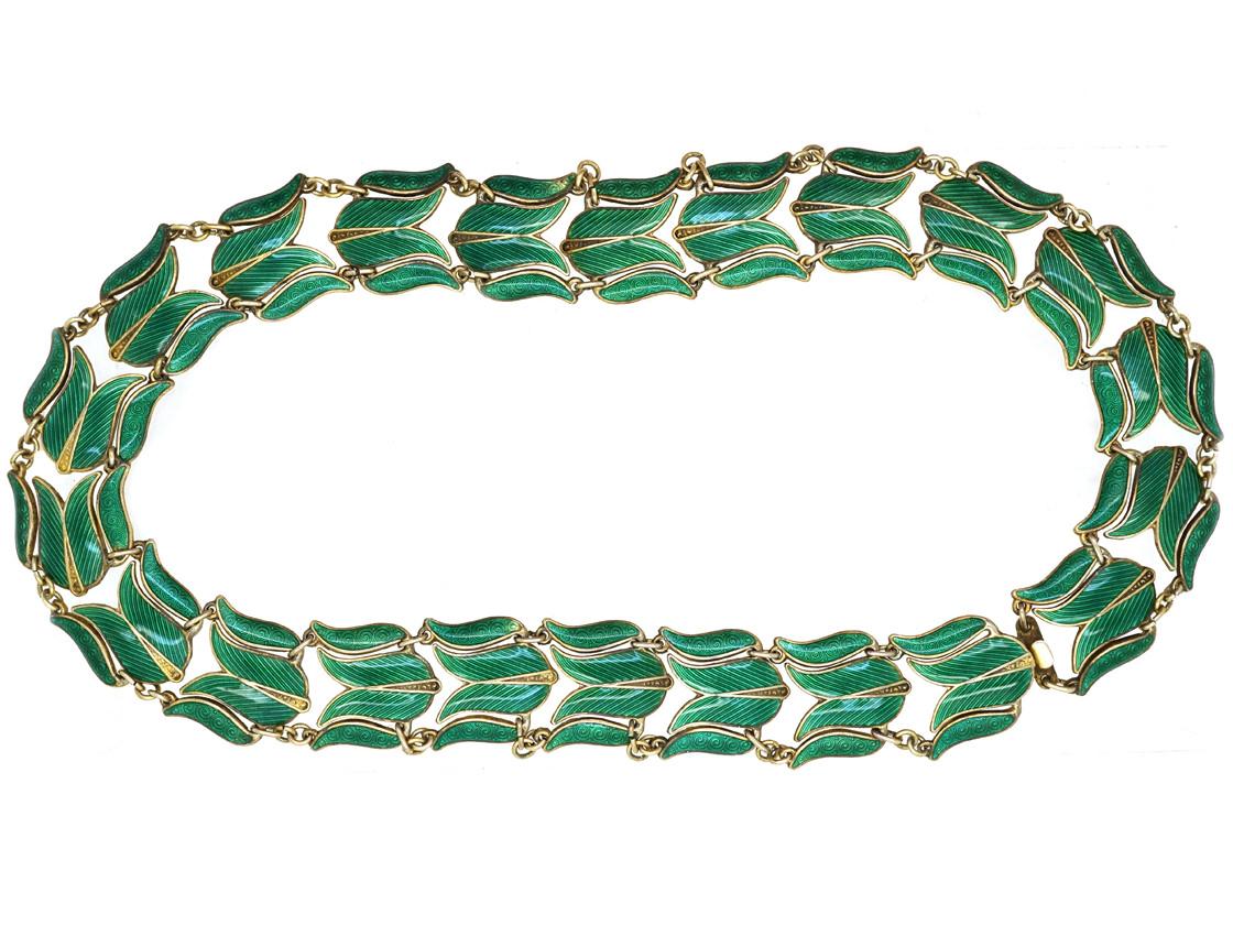Silver Gilt & Green Enamel Tulip Design Necklace