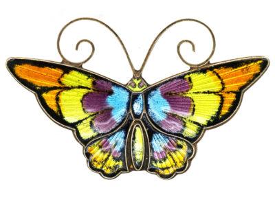 Silver Gilt & Enamel Butterfly Brooch By David Andersen