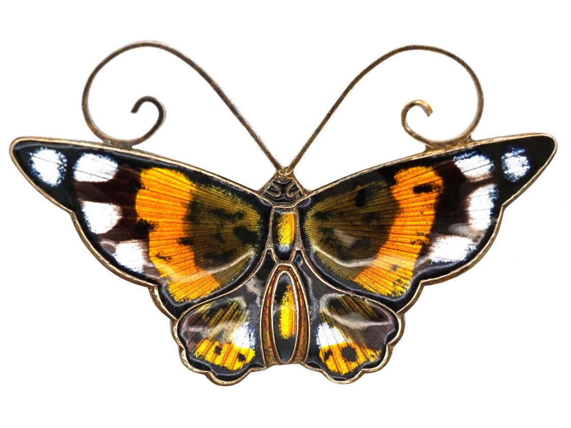 Silver Gilt & Black, Yellow & Orange Enamel Butterfly Brooch By David Andersen