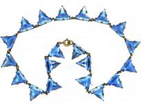 Art Deco Czechoslovakian Blue Paste Necklace