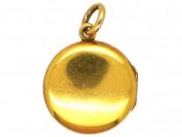 Edwardian 18ct Gold Round Locket Set With A Diamond
