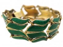 Silver Gilt Tulip Design Green Enamel Bracelet