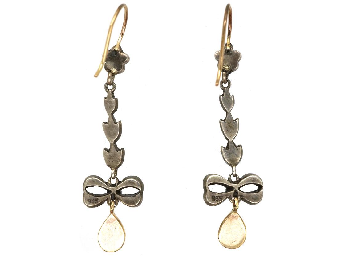Silver, Marcasite & Opal Drop Earrings