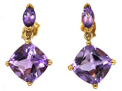 9ct Gold Amethyst Drop Earrings