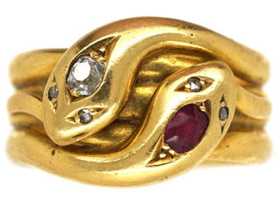 Victorian 18ct Gold, Ruby & Diamond Double Snake Ring
