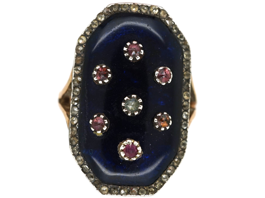 Georgian Gold Blue Glass & Paste Firmament Ring