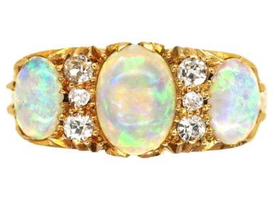 Edwardian 18ct Gold, Three Stone Opal & Diamond Carved Half Hoop Ring